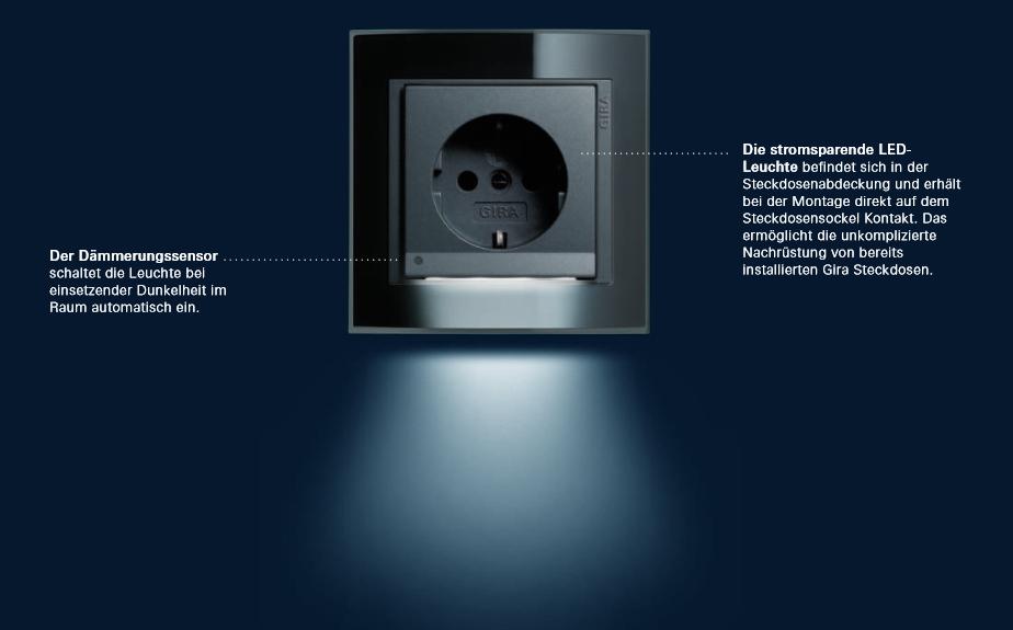 Schuko Steckdose LED-Leuchte System 55 cremeweiß glänzend