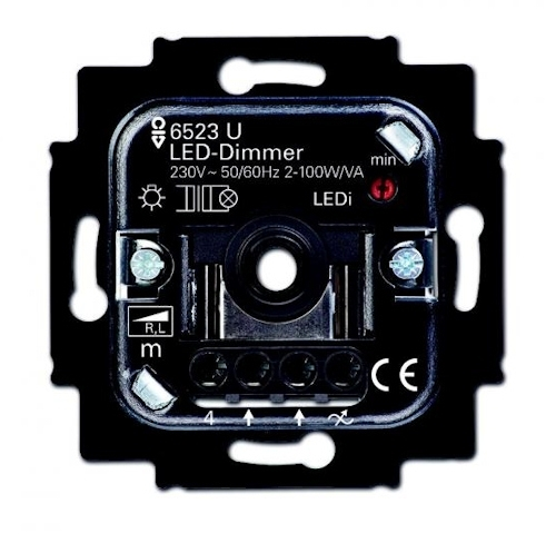 busch jaeger 6523u 102 led dimmer einsatz 2 100 watt 6512 0 0306. Black Bedroom Furniture Sets. Home Design Ideas